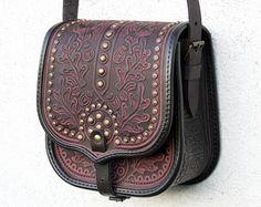tooled light brown leather bag shoulder bag by petitJuJu on Etsy