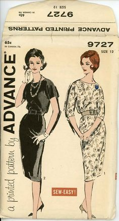 Advance 9727 Misses 1960s Dress Pattern Bloused by CynicalGirl, $18.00