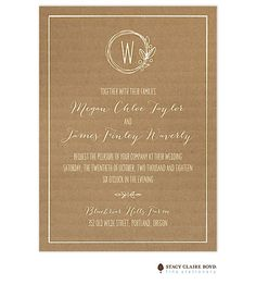 Stacy Claire Boyd Natural Love Wedding Invitation, kraft, rustic, vintage, country chic, new designs available at Note Worthy