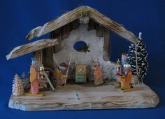 Nativity Set - Creche - Krippen - Crib - Complete with Stable, Figures, Trees, and accessories. All made in Germany.  Available at www.mygrowingtraditions.com