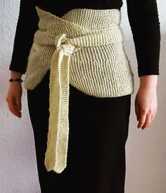 """Free Knitting Pattern for Garter Stitch Haramaki - Haramaki (腹巻, literally """"belly wrap"""" or """"bellyband"""" in Japanese) are designed to keep your middle warm and stylish. This haramakihas straps, too, so that it can be wrapped around your body and bound in front. Itis knitted flat and all in garter stitch. Designed by Sybil R"""