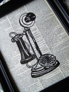 Telephone Table Telephone Streampunk Vintage by Winterberrycottage, $9.25