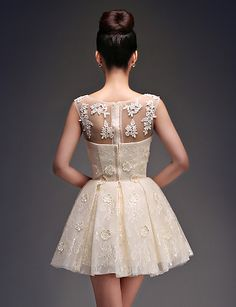 Homecoming Cocktail Party Dress - Champagne Princess Scoop Short/Mini Satin/Tulle – USD $ 33.24