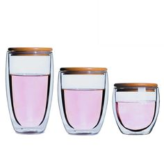350ml Heat Resistance Glass Mug with Bamboo Cover Double Wall Glass Cup Coffee Milk Tea Beer Mug Handmade Transparent Drinkware #Affiliate