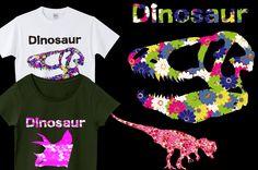 恐竜Tシャツ:とっても可愛い古代をイメージするティラノサウルスの頭骨をメインに花柄で飾ってみました☆とってもオシャレなアートを感じるデザインTシャツ☆レディース、メンズやキッズサイズも豊富にご用意。