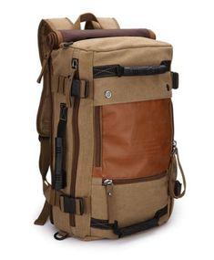 Men's Khaki Canvas Shoulders Outdoor Travel Camping Hiking Bag Rucksack Backpack | eBay