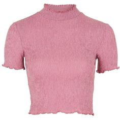 Topshop Textured Ruffle Neck Crop Top ($21) via Polyvore featuring tops, mauve, short sleeve crop top, flounce tops, frill crop top, flutter-sleeve top y pink jersey