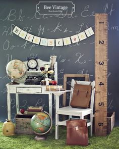 Bee Vintage Back To School Theme - Items displayed can be rented at: www.beevintage.com
