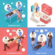 Buy First Aid Isometric Concept by macrovector on GraphicRiver. First aid isometric design concept with emergency help, people ready to assistance, medical kit isolated vector illus. Medical Posters, Medical Symbols, Workplace Accident, Emergency First Aid Kit, World Aids Day, Android, Isometric Design, Applied Science, Color Vector