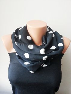 Black and White Silky Polka Dot Scarf Loop by SpecialFabrics