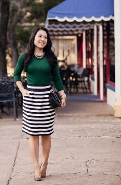 Emerald + Black/White Stripes