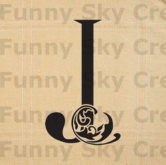 Alphabet Letter J Initial Print Flower Swirl  by FunnySkyCreations, $1.00