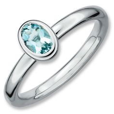 Sterling Silver Stackable Expressions Oval Aquamarine Ring