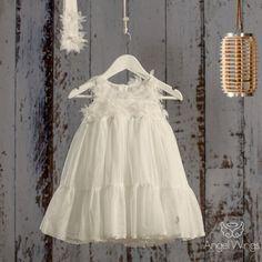 Βαπτιστικό Off White Φόρεμα Nymph | Angel Wings 055 Nymph, Angel Wings, Christening, Anastasia, Off White, Girl Outfits, Flower Girl Dresses, Princess, Wedding Dresses