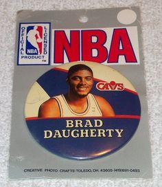 "Vintage 1990s NBA CLEVELAND CAVALIERS Brad Daugherty 3"" Pinback Button"