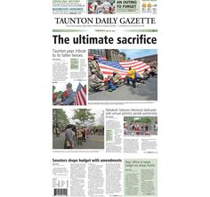 The front page of the Taunton Daily Gazette for Tuesday, May 26, 2015.