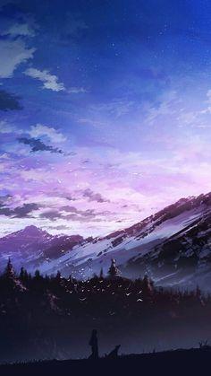 手绘插画 人物 风景 意境 美图 唯美 天空