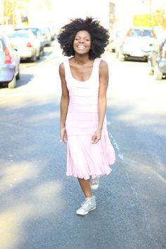 topshop silk dress, afro, smiles and converse. natural hair and fashion.