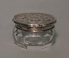 Jars Steady Gorgeous Cut Glass Hvy Faceted Top With Floral Motif Base Vanity Jar Trinket Box Antiques