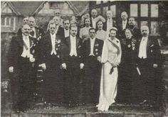 """Some of the noble guests at wedding of Princess Kyra Kyrilovna. The group above includes Grand Duke Dmitri Pavlovich, Princess Tatiana Konstantinovna, Princess Vera Konstantinovna and their nephew Prince Vselovod Ioannovich.  """