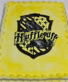 Harry Potter cakes; house crest sheet cakes; hufflepuff cake