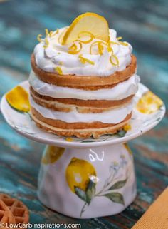 Keto Lemon Chaffle Recipe on a teacup mini cake plate stand Mini Cake Stand, Cupcake Stands, Drop Cake, Desserts Keto, Waffle Cake, Keto Waffle, Keto Cake, Chicken And Waffles, Cake Batter