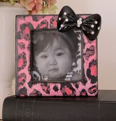 Valentine Pink Black Cheetah Petite Photo Frame by HannahBowBanna