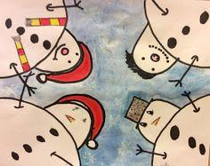 Snögubbar i grodperspektiv - bilduppgift. School Projects, Projects For Kids, Art Projects, Christmas Art For Kids, Christmas Crafts, Pastel Drawing, Painting & Drawing, Winter Thema, Diy And Crafts
