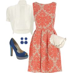 Evening Out. Coral damask print dress, white shrug sweater, white purse, blue earrings, electric blue heels.