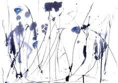 Art Painting Print my Original watercolor Night Butterflies, Moths 8x11 floral  home decor illustration blue grey wall decor