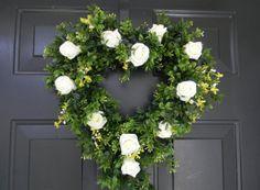 Wedding Wreath Heart Wedding Wreath White by AdariaHomeAccents, $62.95