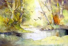 Flying Geese Watercolour Illustration by TerryCulpanGallery