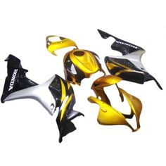 Aftermarket Fairings For Honda CBR600RR 07-08 Gold Black Silver ABS Kits 2007 2008  Include: 23 Fairing Pieces. Gold Black Silver color scheme painted.