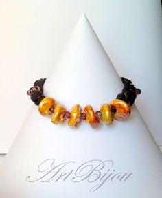 Charm- & Bettelketten - Boho Orange Ceramic T-Shirt Yarn Necklace, Brown - ein Designerstück von ArtBijou bei DaWanda