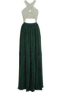 Adeam   Cutout stretch-cotton jacquard and plissé-crepe gown   NET-A-PORTER.COM