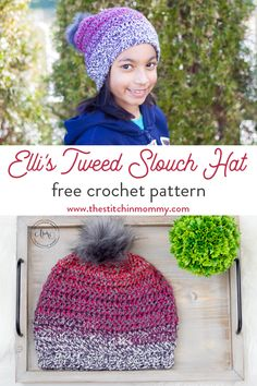 Elli's Tweed Slouch Hat – Free Crochet Pattern – The Stitchin Mommy Loom Knitting Patterns, Hand Knitting, Stitch Patterns, Crochet Patterns, Knitting Tutorials, Knitting Machine, Hat Patterns, Crochet Ideas, Crochet Beanie Hat