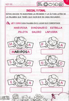Inicual y final Spanish Worksheets, Spanish Teaching Resources, Spanish Activities, Hands On Activities, Teaching Materials, Spanish Practice, Summer School, Kindergarten, Homeschool