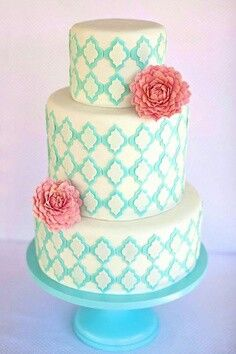 Girl Baby Shower Cake Idea turquoise & pink