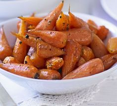Roasting carrots intensifies their flavour and the honey and vinegar make them deliciously sweet and sour