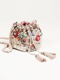 Pinki Embellished Pouch at Free People Clothing Boutique Beaded Embroidery, Floral Embroidery, Hippie Chic, Hippie Style, Boho Style, Handbag Accessories, Fashion Accessories, Potli Bags, Jeanne Damas