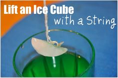 Chemical Reaction: Salt, string and an ice cube! Observe... you can't lift an ice cube with just a string... but add some salt and something happens... Is it magic or is it science? Have fun!