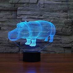 Azisen Optical Illusion Night Light Touch Switch Table Desk Lamp Home Decoration Kiddie Kids Xmas Toy Gift 7 Color Stereoscopic Visual (Hippo) Lampe 3d, Desktop Lamp, 3d Optical Illusions, 3d Light, Light Touch, Novelty Lighting, Lumiere Led, Led Night Light, Light Led