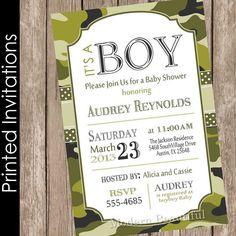Printable Rustic Woodland Camo Baby Shower Invitation Baby