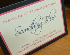 """What if you did beer, wine, and your """"signature drink""""? What would your signature drink be?  Signature Drink Sign. $5.00, via Etsy."""