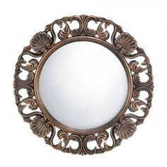 Decorative Heirloom Round Wall Mirror. Unique round classic heirloom style mirror. This wall mounted round mirror will make great decor on any wall in your home.
