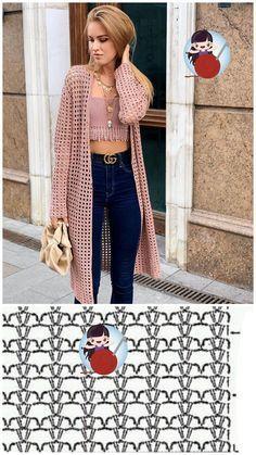 Gilet Crochet, Crochet Coat, Crochet Cardigan Pattern, Crochet Jacket, Crochet Stitches Patterns, Crochet Shawl, Crochet Clothes, Pull Crochet, Mode Crochet