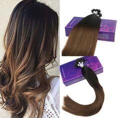 U Tip Ombre Pre Bonded Keratin Fusion Remy Human Hair Extensions #1BT6 #hairextensions #utiphair #utip #remyhumanhair #blackhair #haircolor #brownhair #balayagehair