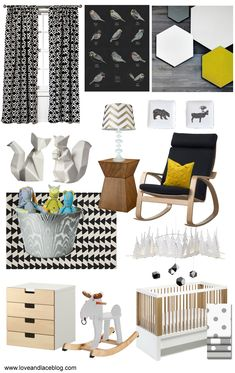 Nursery theme: Modern geometric woodland. Pattern mixing. Colors: Gray, Black, White, Mustard Yellow, Silver & Gold Metallics