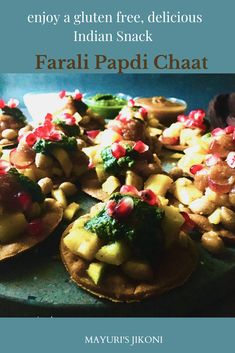 Farali Papdi Chaat is a gluten free way to enjoy the famous Indian Street Food, Papdi Chaat. Mixture of simple ingredients like potatoes, peanuts, fruits and chutneys results in a tangy, sweetish, delightful lip smacking snack. #snack #farali #ekadashi #streetfood #glutenfree #amaranthflour #potato #peanuts #chutneys #fruits #indiansnack Veg Recipes, Indian Food Recipes, Papdi Chaat, Gluten Free Flatbread, Tamarind Chutney, Filling Snacks, Indian Street Food, Indian Snacks, Appetisers