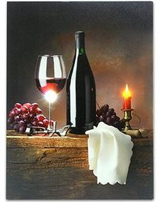 Wine Canvas Print with LED Lights - Wine Picture with Glowing Candle - Wine Glass, Wine Bottle, Napkin, Grapes, Cork and Bottle Opener - Inch Light Up Pictures, Grape Kitchen Decor, Fish Lamp, Wine Candles, Wine And Canvas, Lighted Canvas, Canvas Lights, Wine Decor, Kitchen Pictures